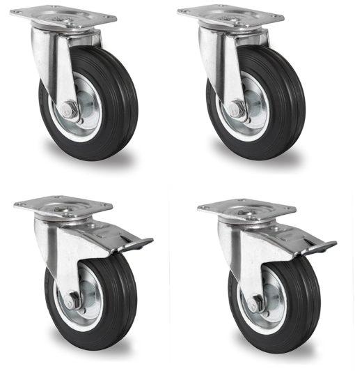4 Stück Transportrollen lenkbar 125mm Gummibereifung Lenk / FS