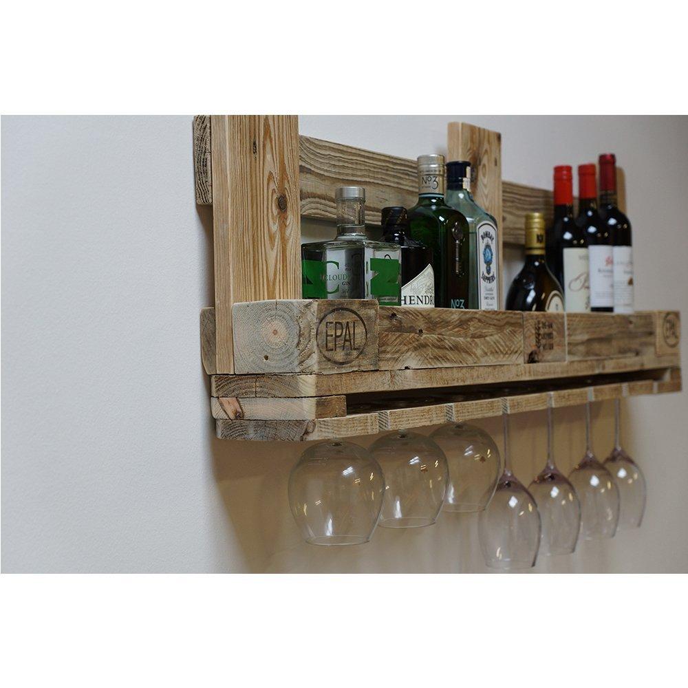 Palettenmöbel Weinregal mit Glashalter aus recycelten Palettenholz