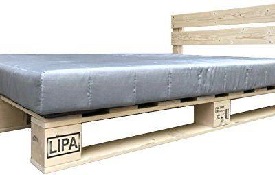 LIPA Palettenbett mit Kopfteil Massivholzbett Paletten Bett Holz 90 100 120 140 160 180 200 x 200cm hergestellt in BRD (120 x 200 cm)
