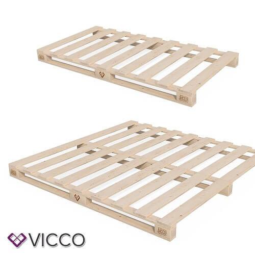 VICCO Palettenbett Bett Holz Massivholzbett 90 100 120 140 160 180 200 x 200cm, Palettenmöbel MADE IN GERMANY (90x200)