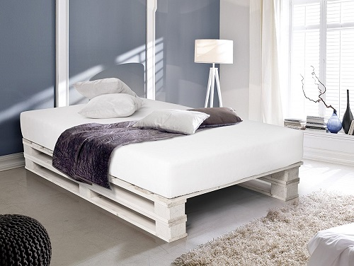 PALETTI Massivholzbett Duo Holzbett Palettenbett Bett aus Paletten mit 11 Leisten