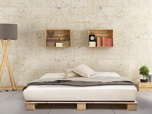 PALETTI Palettenbett Massivholzbett Holzbett Bett aus Paletten mit 11 Leisten, Palettenmöbel, 180 x 200 cm, Fichte Natur