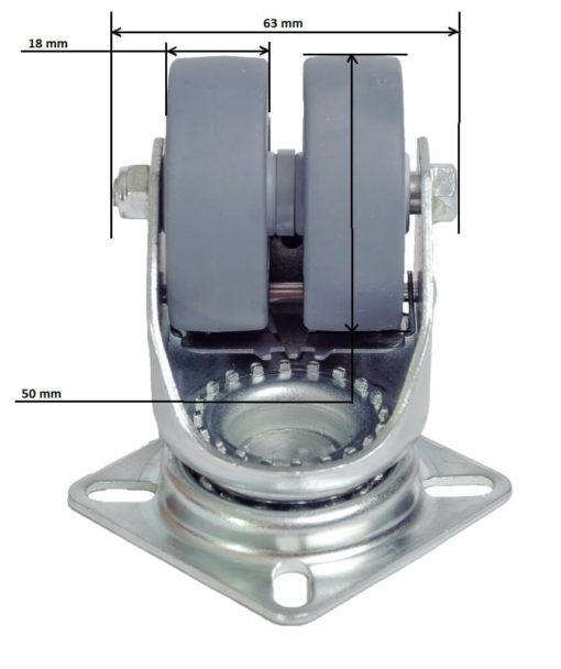 Doppelrollen mit Bremse für Europaletten-Möbel